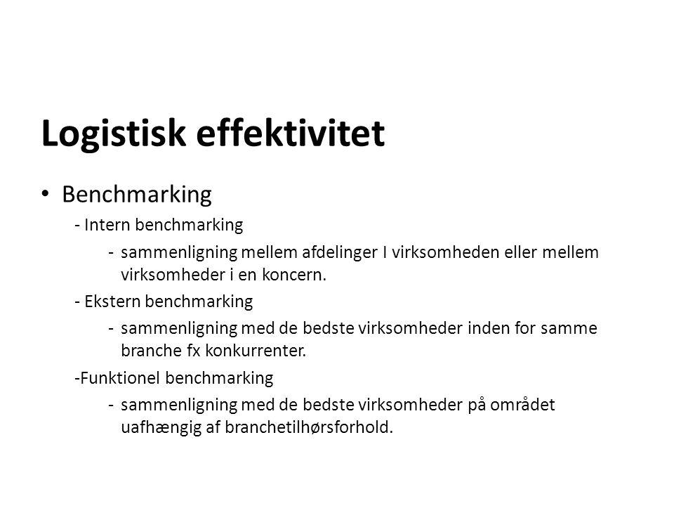 Logistisk effektivitet Benchmarking - Intern benchmarking - sammenligning mellem afdelinger I virksomheden eller mellem virksomheder i en koncern. - E