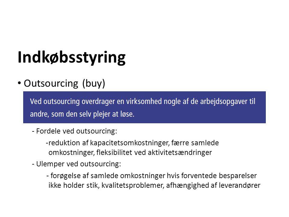 Indkøbsstyring Outsourcing (buy) - Fordele ved outsourcing: -reduktion af kapacitetsomkostninger, færre samlede omkostninger, fleksibilitet ved aktivi
