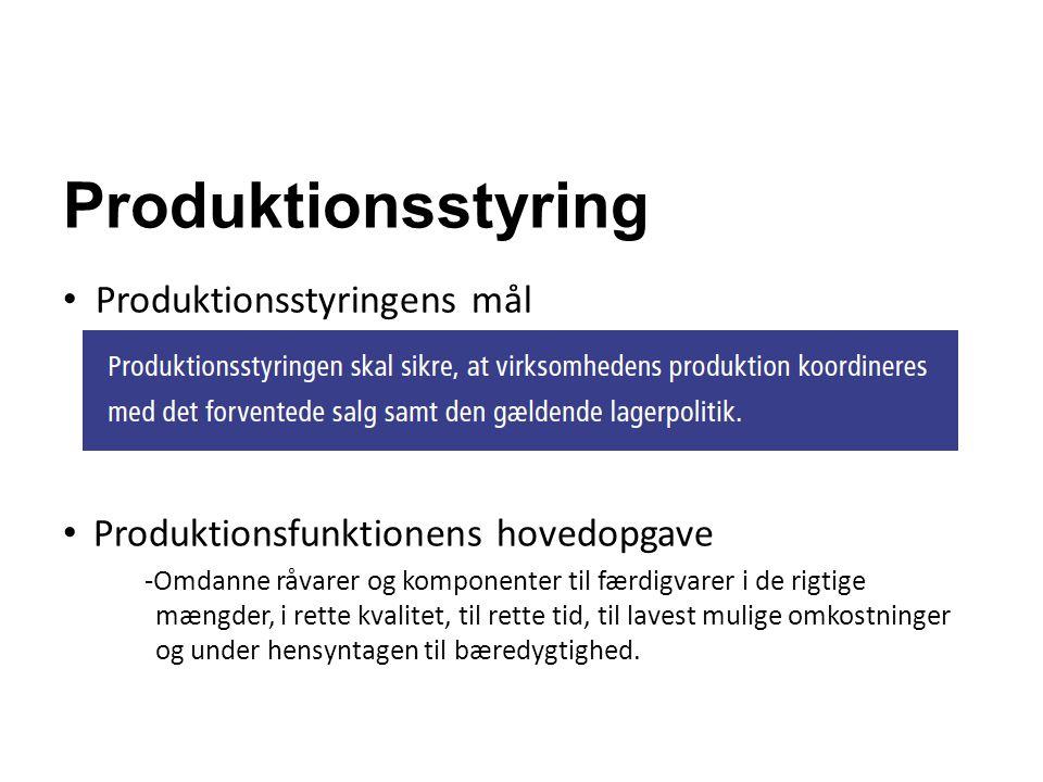 Produktionsstyring Produktionsstyringens mål Produktionsfunktionens hovedopgave -Omdanne råvarer og komponenter til færdigvarer i de rigtige mængder,