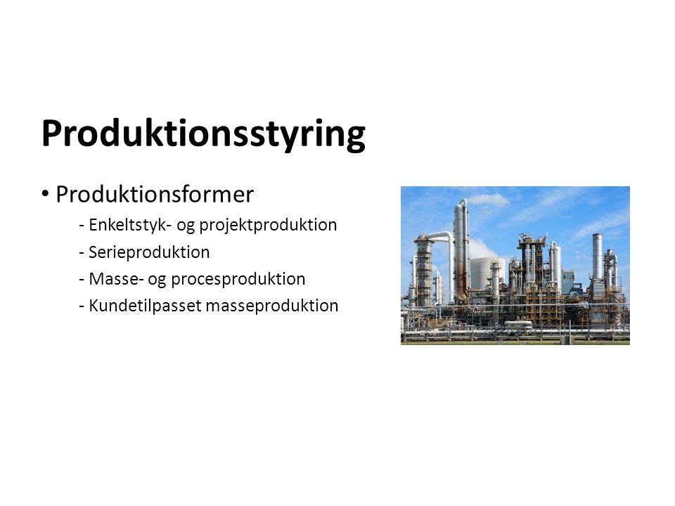 Produktionsstyring Produktionsformer - Enkeltstyk- og projektproduktion - Serieproduktion - Masse- og procesproduktion - Kundetilpasset masseproduktio