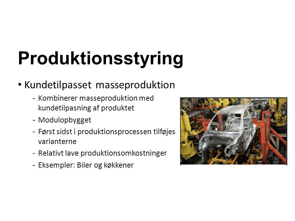 Produktionsstyring Kundetilpasset masseproduktion -Kombinerer masseproduktion med kundetilpasning af produktet -Modulopbygget -Først sidst i produktio