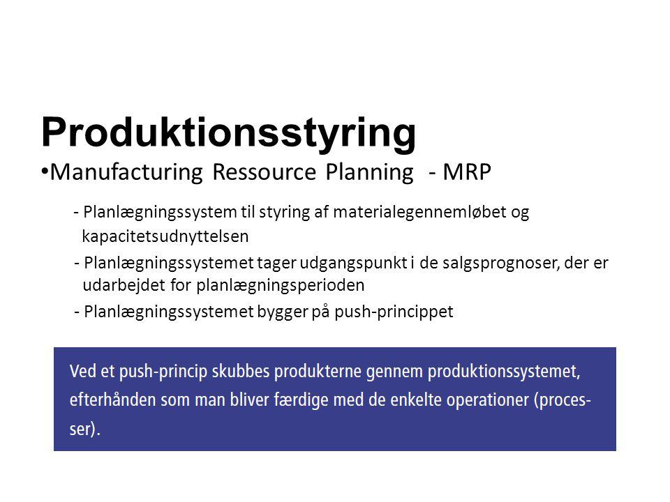 Produktionsstyring Manufacturing Ressource Planning - MRP - Planlægningssystem til styring af materialegennemløbet og kapacitetsudnyttelsen - Planlægn