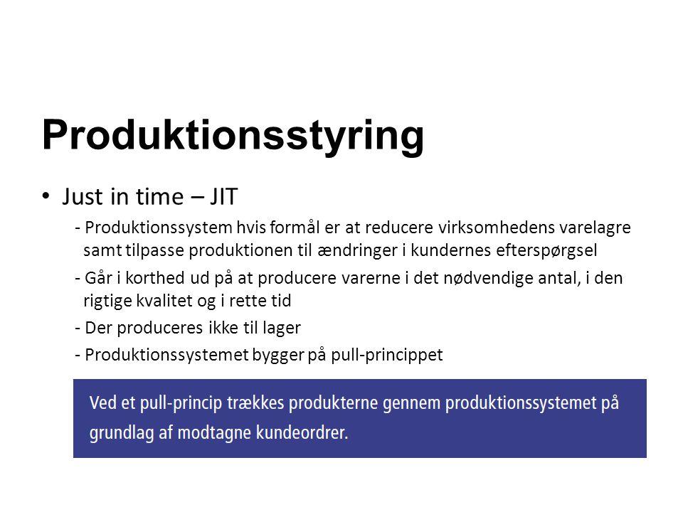 Produktionsstyring Just in time – JIT - Produktionssystem hvis formål er at reducere virksomhedens varelagre samt tilpasse produktionen til ændringer