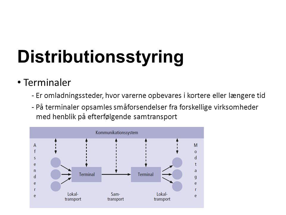 Distributionsstyring Terminaler - Er omladningssteder, hvor varerne opbevares i kortere eller længere tid - På terminaler opsamles småforsendelser fra