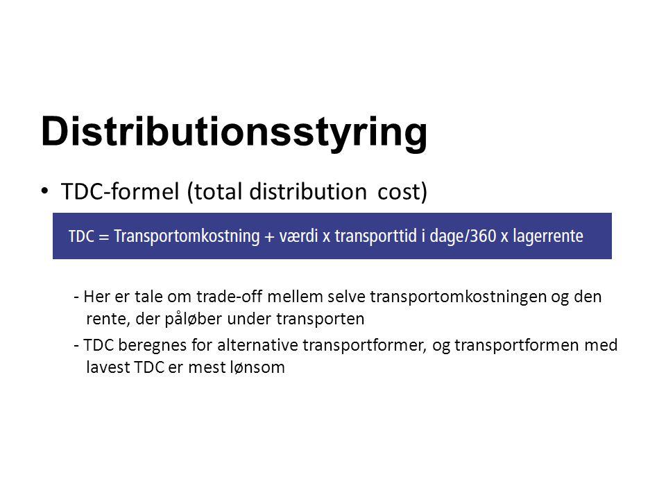 Distributionsstyring TDC-formel (total distribution cost) - Her er tale om trade-off mellem selve transportomkostningen og den rente, der påløber unde