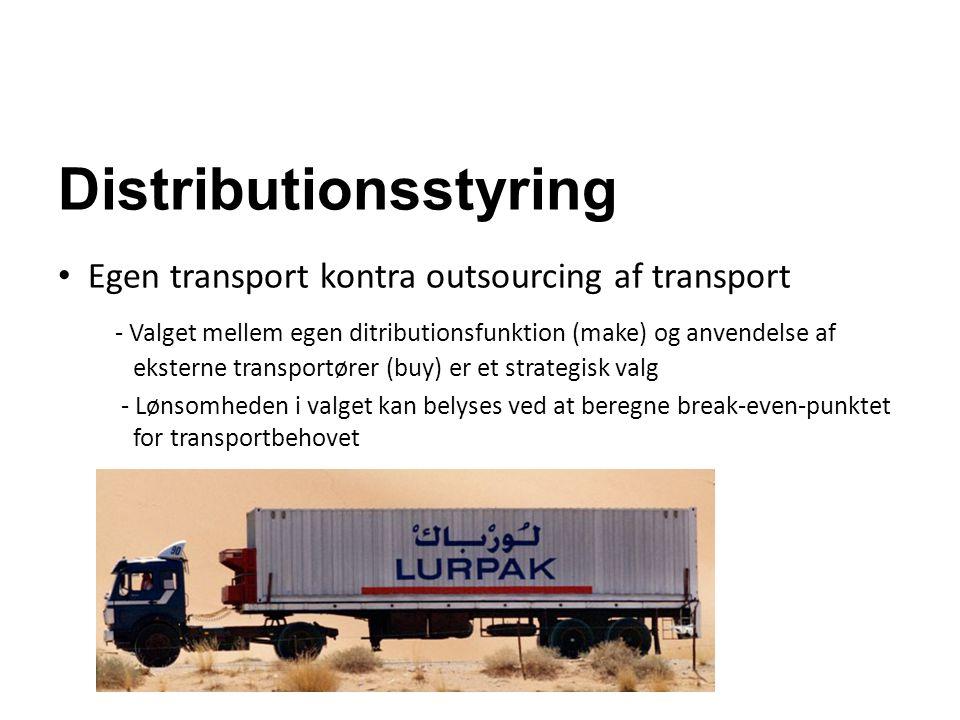 Distributionsstyring Egen transport kontra outsourcing af transport - Valget mellem egen ditributionsfunktion (make) og anvendelse af eksterne transpo