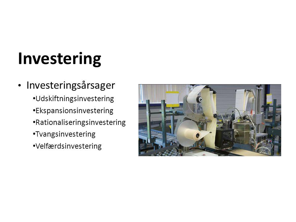 Investering Investeringsårsager Udskiftningsinvestering Ekspansionsinvestering Rationaliseringsinvestering Tvangsinvestering Velfærdsinvestering