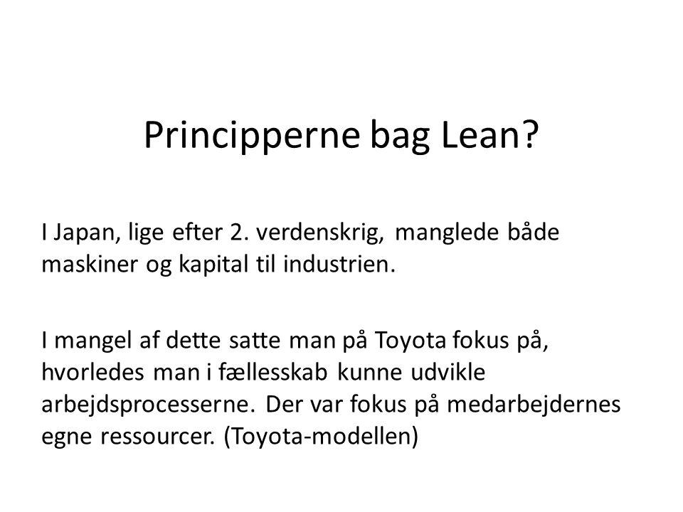 Principperne bag Lean? I Japan, lige efter 2. verdenskrig, manglede både maskiner og kapital til industrien. I mangel af dette satte man på Toyota fok