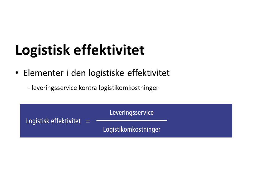 Logistisk effektivitet Elementer i den logistiske effektivitet - leveringsservice kontra logistikomkostninger