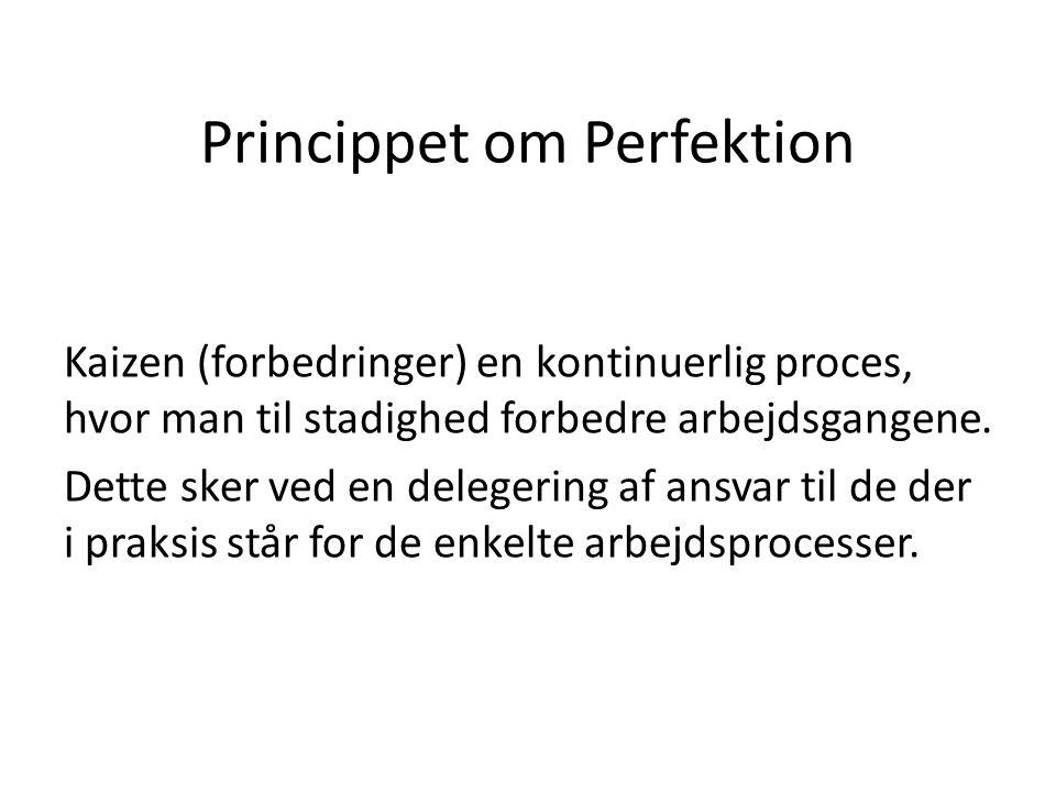 Princippet om Perfektion Kaizen (forbedringer) en kontinuerlig proces, hvor man til stadighed forbedre arbejdsgangene. Dette sker ved en delegering af