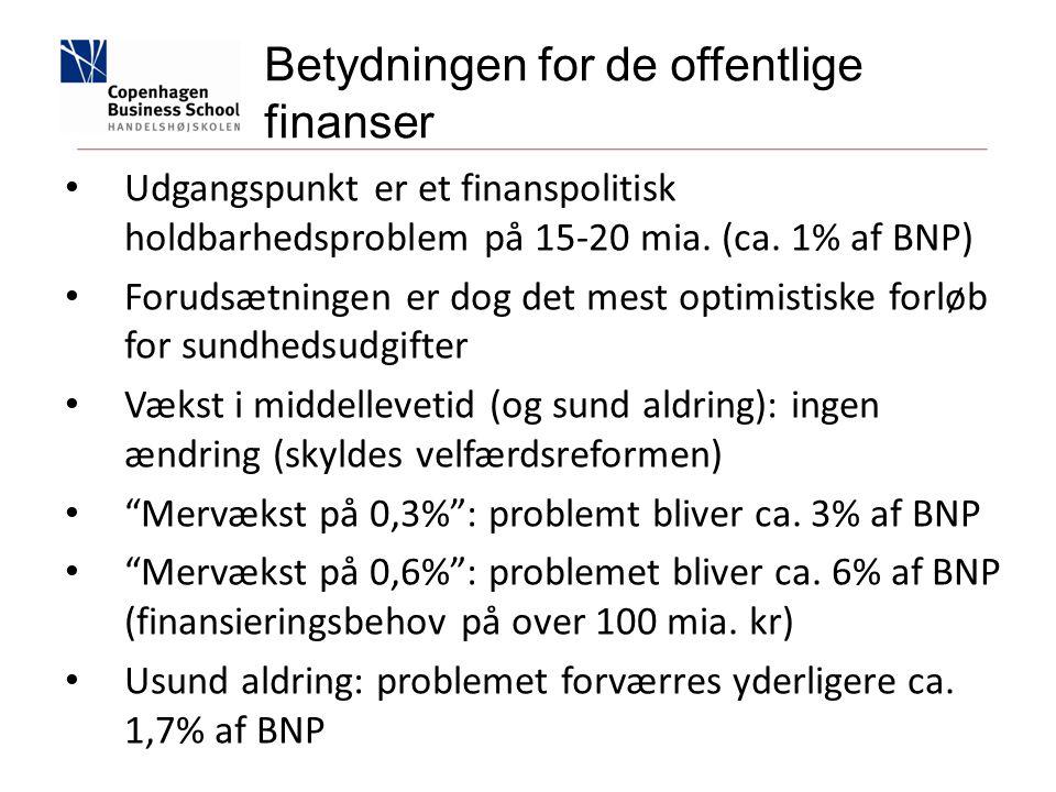 Udgangspunkt er et finanspolitisk holdbarhedsproblem på 15-20 mia.
