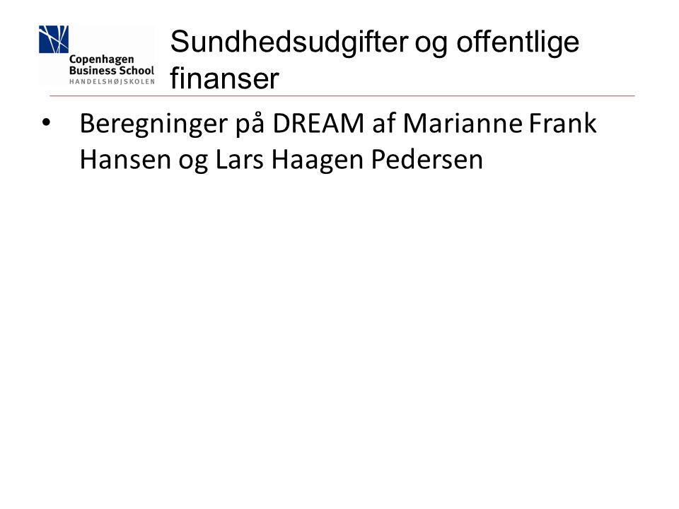 Beregninger på DREAM af Marianne Frank Hansen og Lars Haagen Pedersen Sundhedsudgifter og offentlige finanser