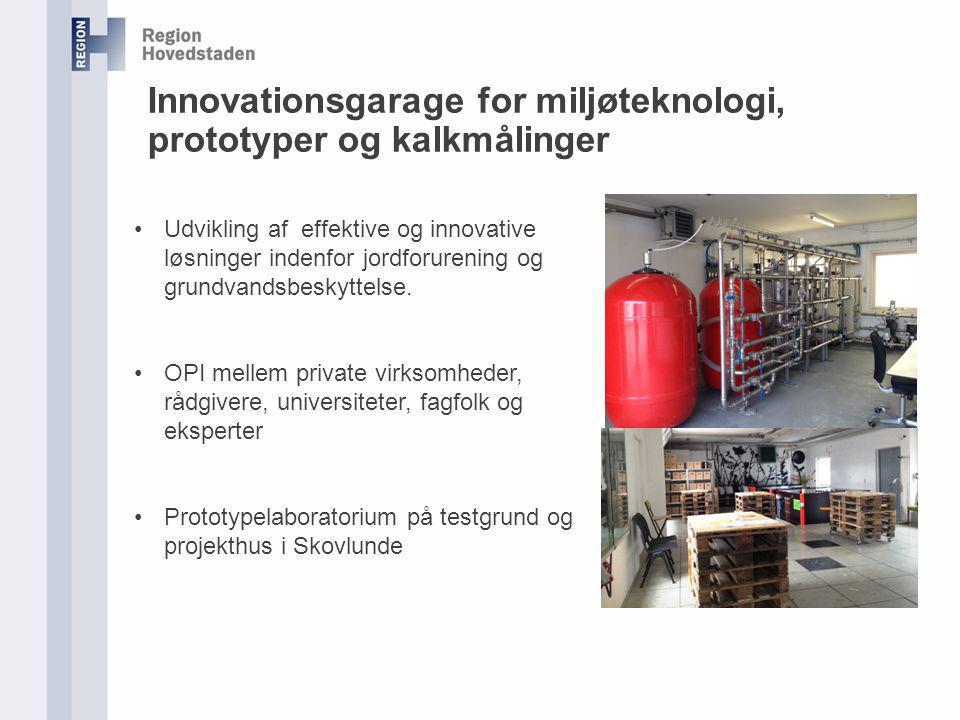 Innovationsgarage for miljøteknologi, prototyper og kalkmålinger Udvikling af effektive og innovative løsninger indenfor jordforurening og grundvandsbeskyttelse.