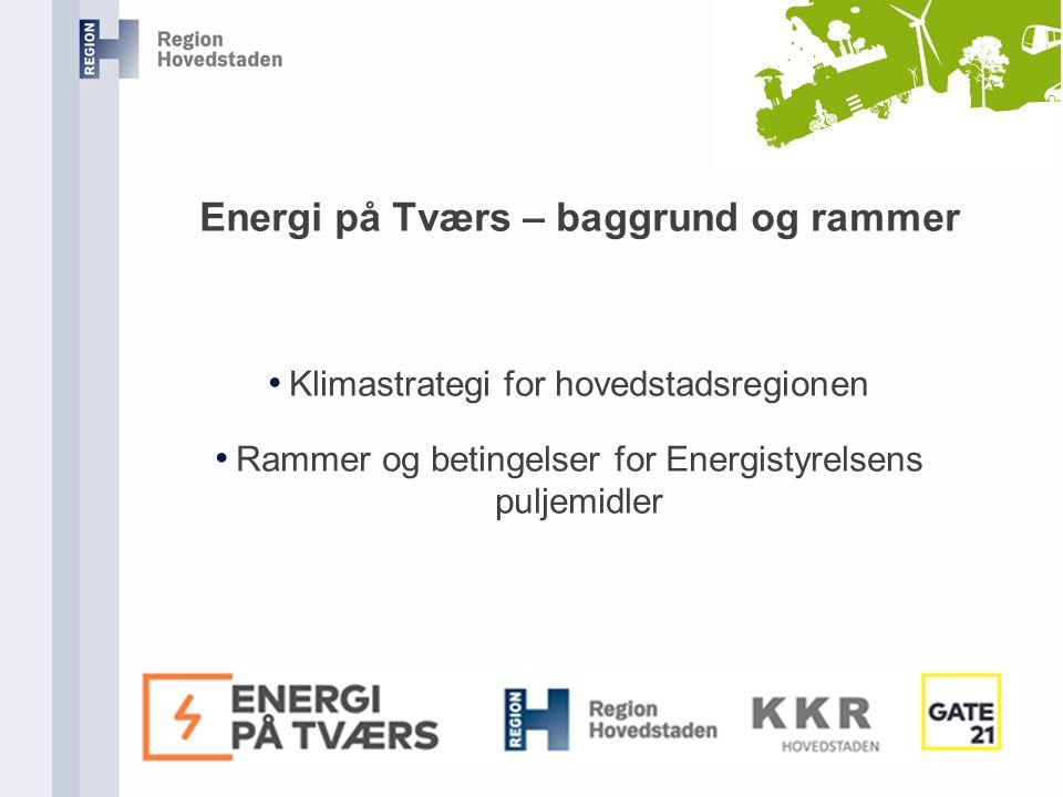 Energi på Tværs – baggrund og rammer Klimastrategi for hovedstadsregionen Rammer og betingelser for Energistyrelsens puljemidler