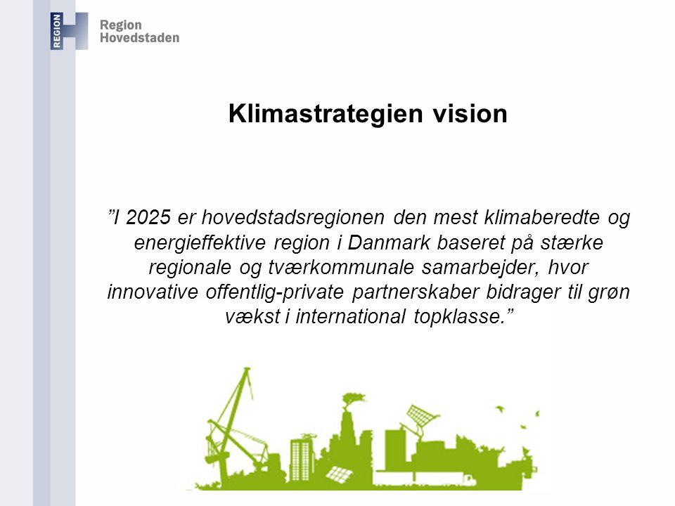 Klimastrategien vision I 2025 er hovedstadsregionen den mest klimaberedte og energieffektive region i Danmark baseret på stærke regionale og tværkommunale samarbejder, hvor innovative offentlig-private partnerskaber bidrager til grøn vækst i international topklasse.