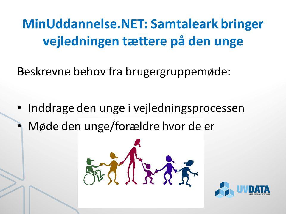 MinUddannelse.NET: Samtaleark bringer vejledningen tættere på den unge Beskrevne behov fra brugergruppemøde: Inddrage den unge i vejledningsprocessen Møde den unge/forældre hvor de er