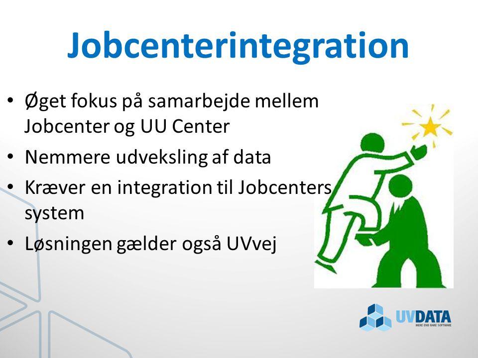 Jobcenterintegration Øget fokus på samarbejde mellem Jobcenter og UU Center Nemmere udveksling af data Kræver en integration til Jobcenters system Løsningen gælder også UVvej