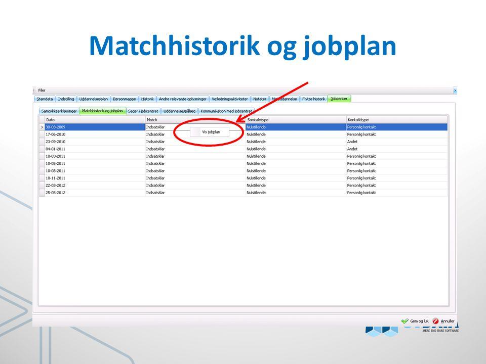 Matchhistorik og jobplan