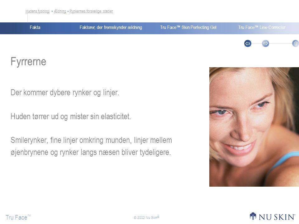Faktorer, der fremskynder ældningFaktaTru Face™ Skin Perfecting GelTru Face™ Line Corrector Tru Face ™    © 2002 Nu Skin ® Fyrrerne Der kommer dybere rynker og linjer.
