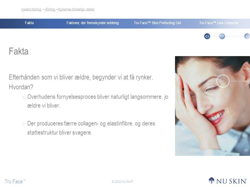 Faktorer, der fremskynder ældningFaktaTru Face™ Skin Perfecting GelTru Face™ Line Corrector Tru Face ™    © 2002 Nu Skin ® Fakta Efterhånden som vi bliver ældre, begynder vi at få rynker.