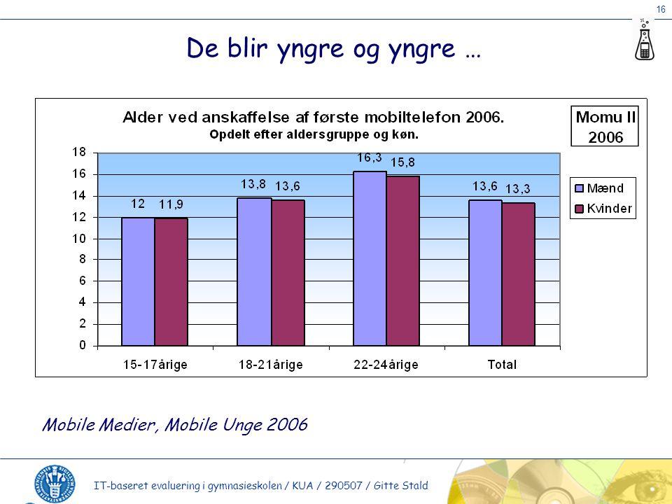 16 IT-baseret evaluering i gymnasieskolen / KUA / 290507 / Gitte Stald De blir yngre og yngre … Mobile Medier, Mobile Unge 2006