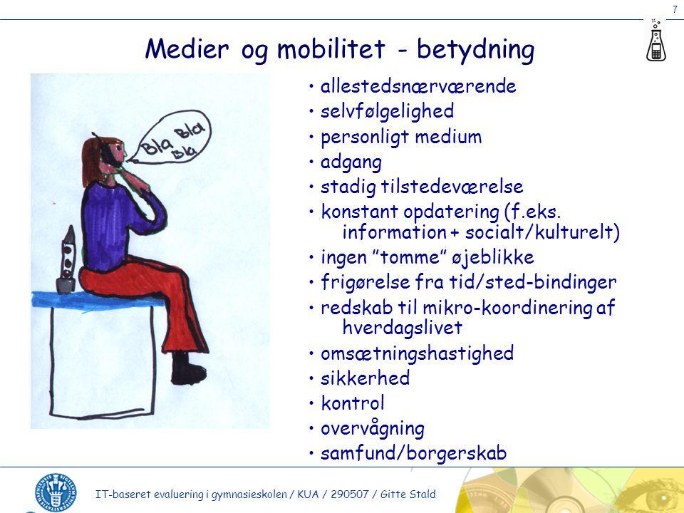 7 IT-baseret evaluering i gymnasieskolen / KUA / 290507 / Gitte Stald Medier og mobilitet - betydning allestedsnærværende selvfølgelighed personligt medium adgang stadig tilstedeværelse konstant opdatering (f.eks.