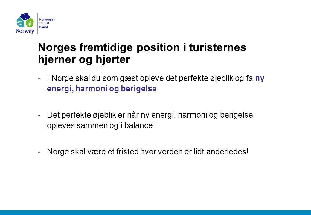 Norges fremtidige position i turisternes hjerner og hjerter I Norge skal du som gæst opleve det perfekte øjeblik og få ny energi, harmoni og berigelse Det perfekte øjeblik er når ny energi, harmoni og berigelse opleves sammen og i balance Norge skal være et fristed hvor verden er lidt anderledes!