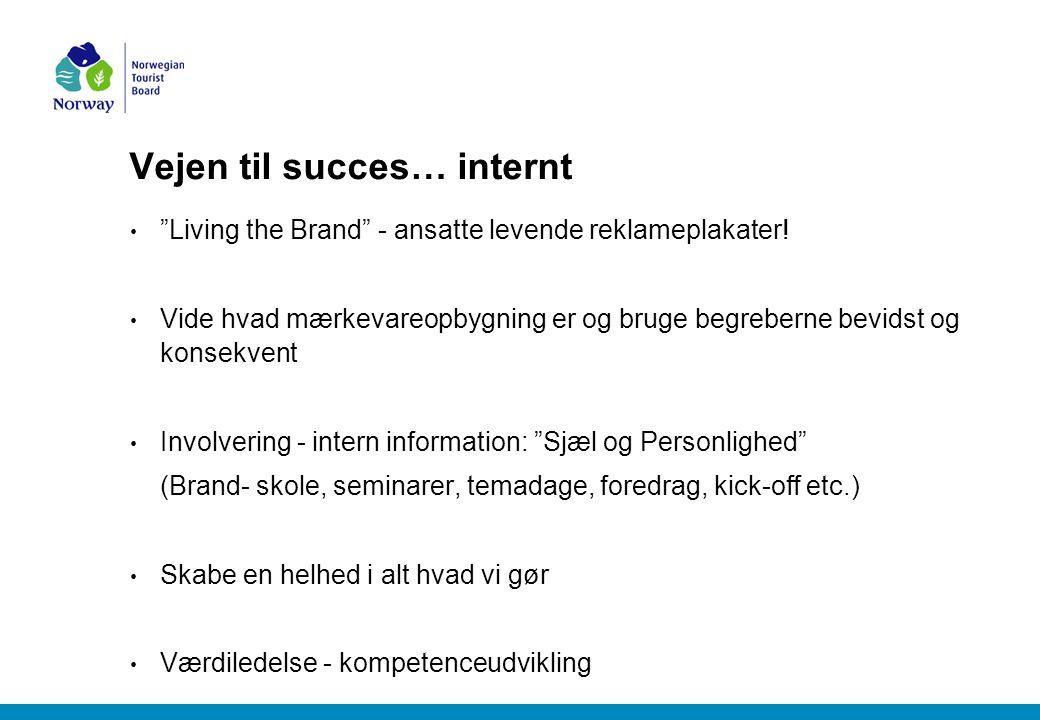 Vejen til succes… internt Living the Brand - ansatte levende reklameplakater.