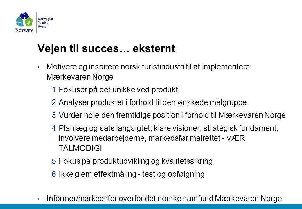 Vejen til succes… eksternt Motivere og inspirere norsk turistindustri til at implementere Mærkevaren Norge 1Fokuser på det unikke ved produkt 2Analyser produktet i forhold til den ønskede målgruppe 3Vurder nøje den fremtidige position i forhold til Mærkevaren Norge 4Planlæg og sats langsigtet; klare visioner, strategisk fundament, involvere medarbejderne, markedsfør målrettet - VÆR TÅLMODIG.