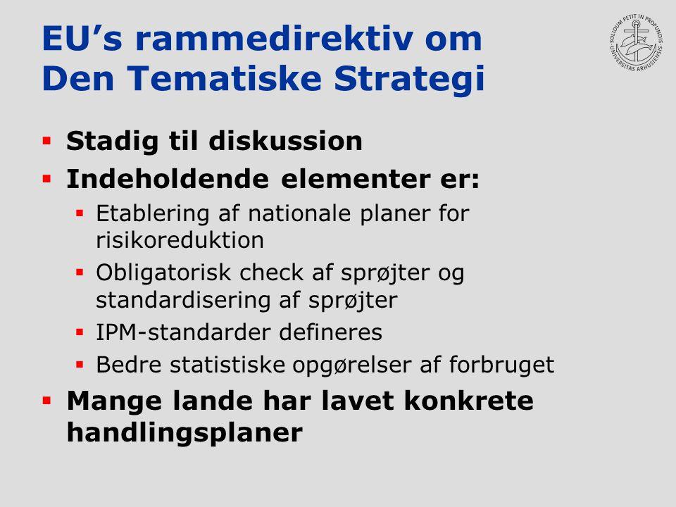 EU's rammedirektiv om Den Tematiske Strategi  Stadig til diskussion  Indeholdende elementer er:  Etablering af nationale planer for risikoreduktion  Obligatorisk check af sprøjter og standardisering af sprøjter  IPM-standarder defineres  Bedre statistiske opgørelser af forbruget  Mange lande har lavet konkrete handlingsplaner