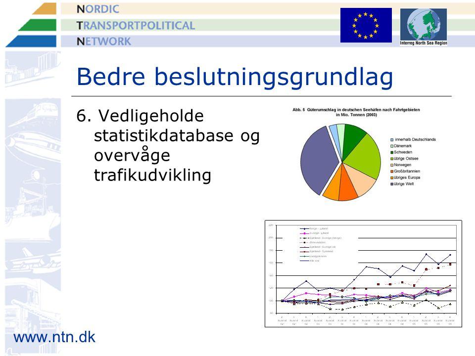 www.ntn.dk Bedre beslutningsgrundlag 6. Vedligeholde statistikdatabase og overvåge trafikudvikling