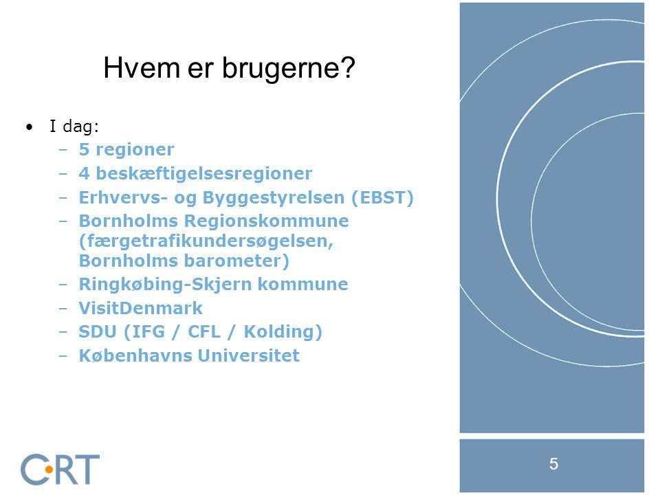 21-11-2014 5 I dag: –5 regioner –4 beskæftigelsesregioner –Erhvervs- og Byggestyrelsen (EBST) –Bornholms Regionskommune (færgetrafikundersøgelsen, Bornholms barometer) –Ringkøbing-Skjern kommune –VisitDenmark –SDU (IFG / CFL / Kolding) –Københavns Universitet Hvem er brugerne