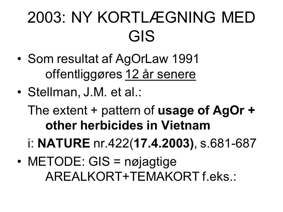 2003: NY KORTLÆGNING MED GIS Som resultat af AgOrLaw 1991 offentliggøres 12 år senere Stellman, J.M.