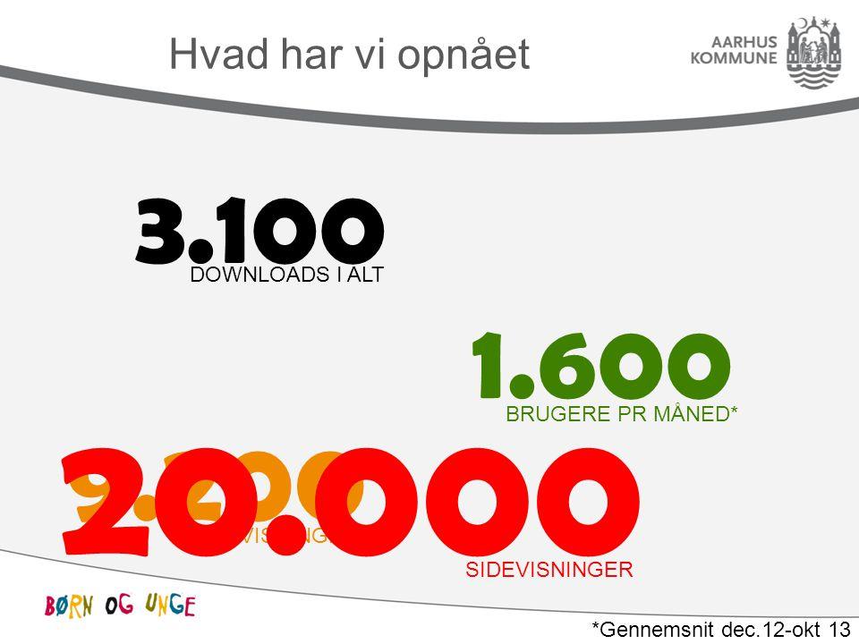 Hvad har vi opnået 3.100 DOWNLOADS I ALT 1.600 BRUGERE PR MÅNED* 9.200 SIDEVISNINGER* *Gennemsnit dec.12-okt 13 20.000 SIDEVISNINGER