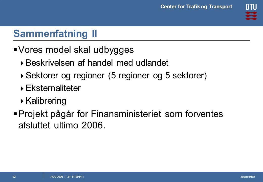 Jeppe Rich Center for Trafik og Transport AUC 2006 | 21-11-2014 |22 Sammenfatning II  Vores model skal udbygges  Beskrivelsen af handel med udlandet  Sektorer og regioner (5 regioner og 5 sektorer)  Eksternaliteter  Kalibrering  Projekt pågår for Finansministeriet som forventes afsluttet ultimo 2006.
