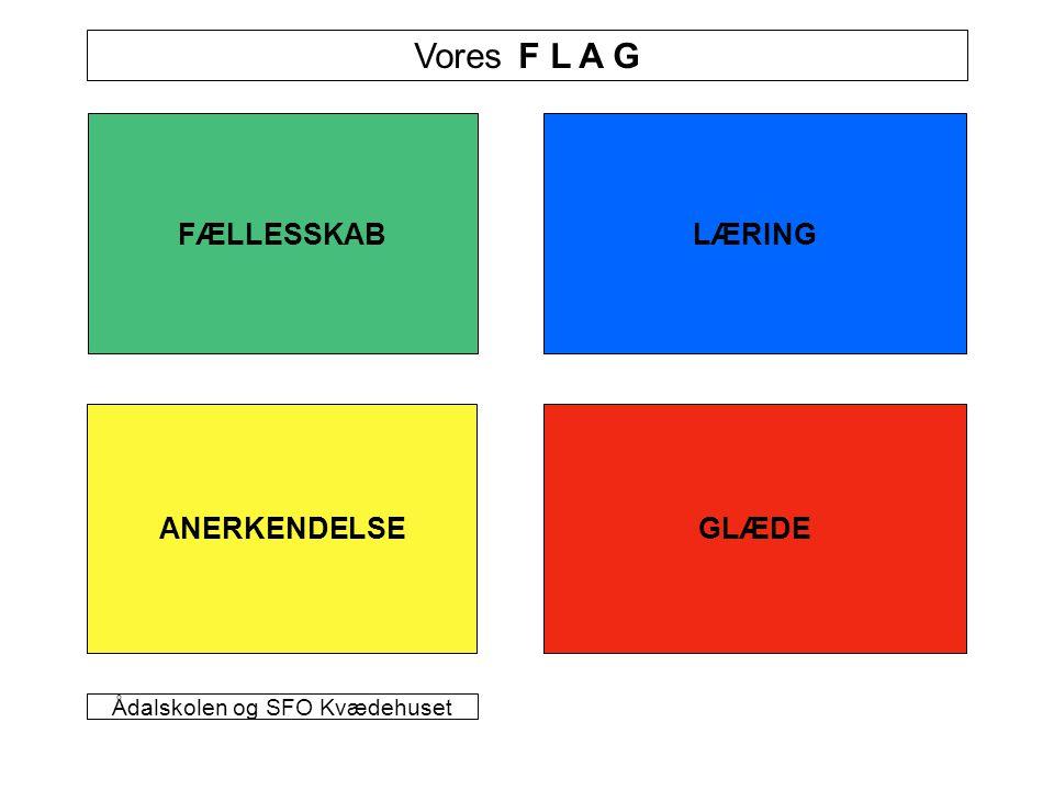 FÆLLESSKAB GLÆDEANERKENDELSE LÆRING Vores F L A G Ådalskolen og SFO Kvædehuset