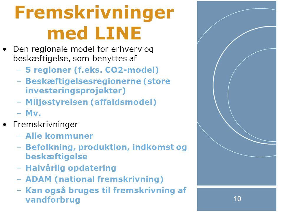 10 Fremskrivninger med LINE Den regionale model for erhverv og beskæftigelse, som benyttes af –5 regioner (f.eks.