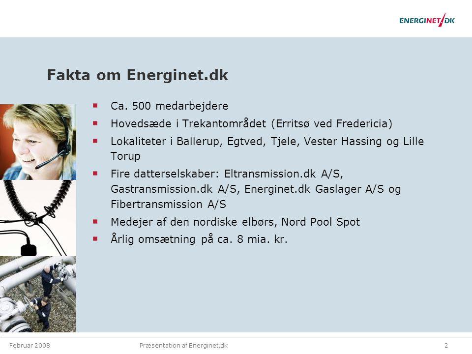 Februar 20082Præsentation af Energinet.dk Fakta om Energinet.dk Ca.