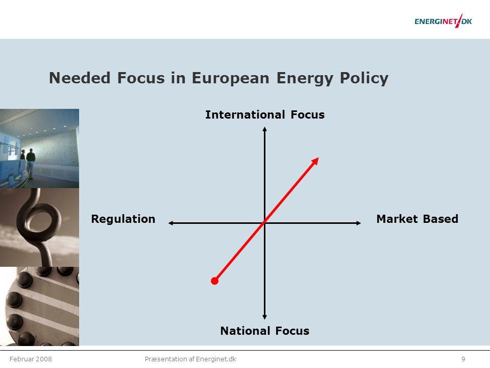 Februar 20089Præsentation af Energinet.dk Needed Focus in European Energy Policy National Focus International Focus RegulationMarket Based