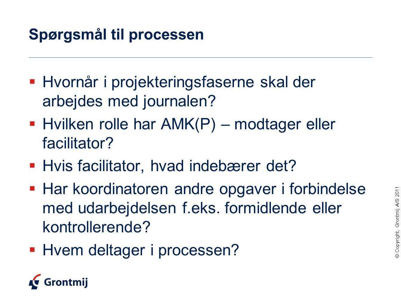 © Copyright, Grontmij A/S 2011 Spørgsmål til processen  Hvornår i projekteringsfaserne skal der arbejdes med journalen.