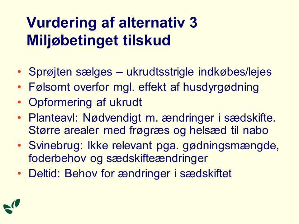 Vurdering af alternativ 3 Miljøbetinget tilskud Sprøjten sælges – ukrudtsstrigle indkøbes/lejes Følsomt overfor mgl.