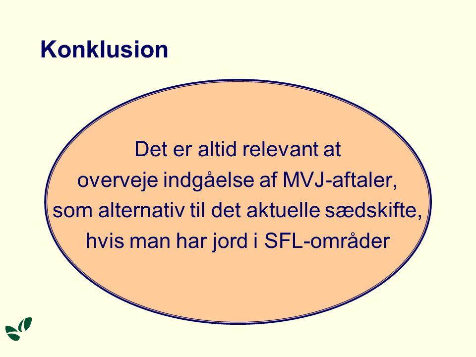 Konklusion Det er altid relevant at overveje indgåelse af MVJ-aftaler, som alternativ til det aktuelle sædskifte, hvis man har jord i SFL-områder