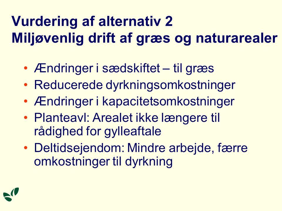 Vurdering af alternativ 2 Miljøvenlig drift af græs og naturarealer Ændringer i sædskiftet – til græs Reducerede dyrkningsomkostninger Ændringer i kapacitetsomkostninger Planteavl: Arealet ikke længere til rådighed for gylleaftale Deltidsejendom: Mindre arbejde, færre omkostninger til dyrkning