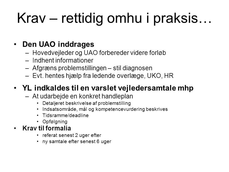 Krav – rettidig omhu i praksis… Den UAO inddrages –Hovedvejleder og UAO forbereder videre forløb –Indhent informationer –Afgræns problemstillingen – stil diagnosen –Evt.