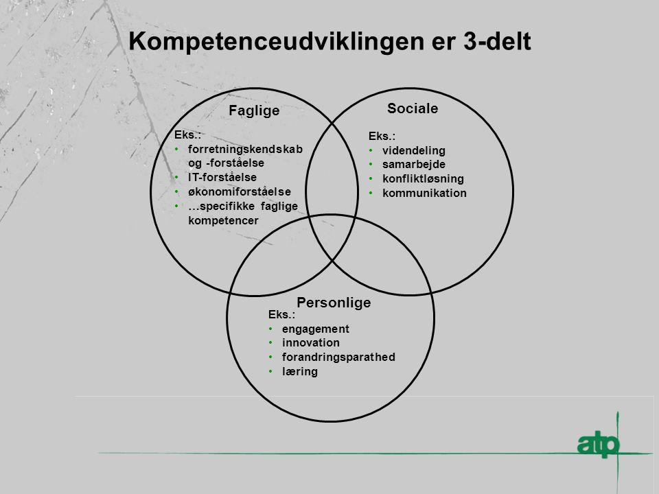 Kompetenceudviklingen er 3-delt Faglige Sociale Personlige Eks.: forretningskendskab og -forståelse IT-forståelse økonomiforståelse …specifikke faglige kompetencer Eks.: videndeling samarbejde konfliktløsning kommunikation Eks.: engagement innovation forandringsparathed læring