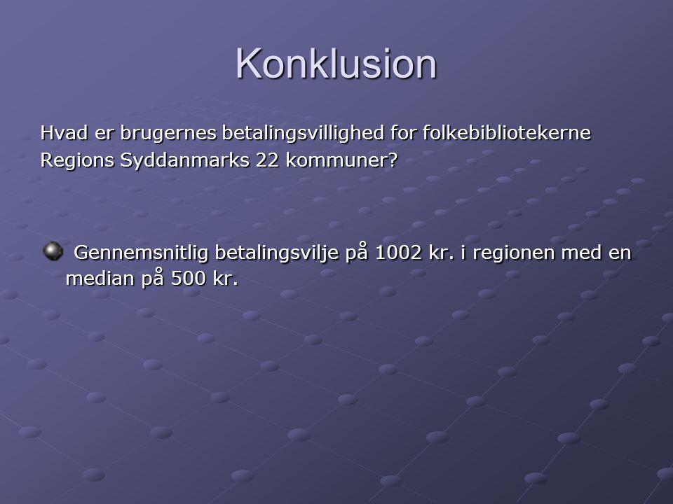 Konklusion Hvad er brugernes betalingsvillighed for folkebibliotekerne Regions Syddanmarks 22 kommuner.