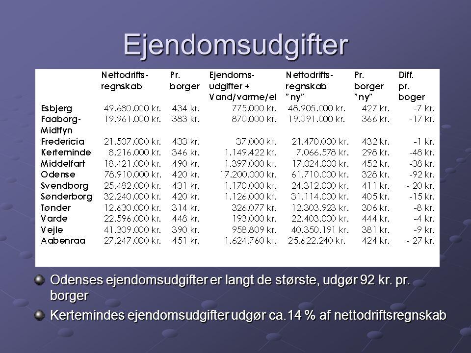 Ejendomsudgifter Odenses ejendomsudgifter er langt de største, udgør 92 kr.
