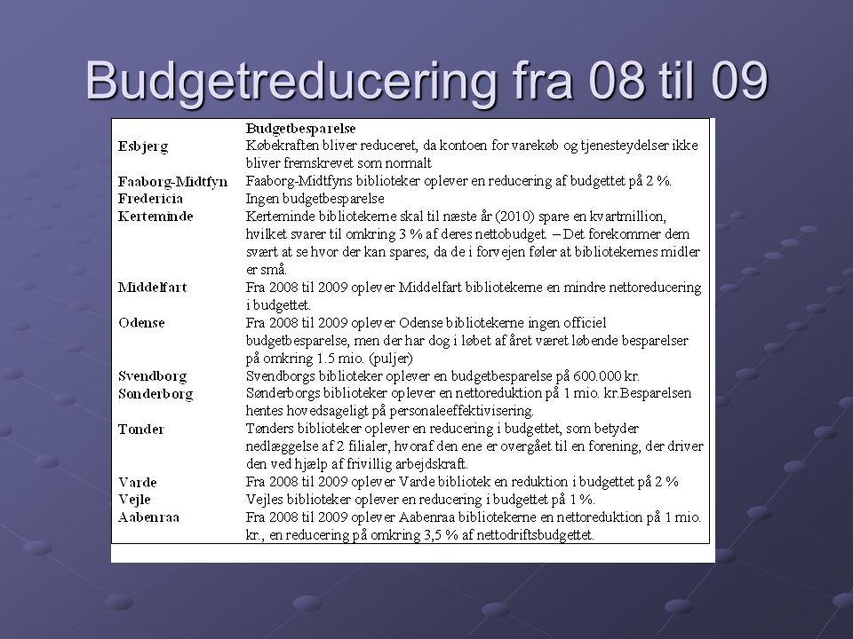 Budgetreducering fra 08 til 09
