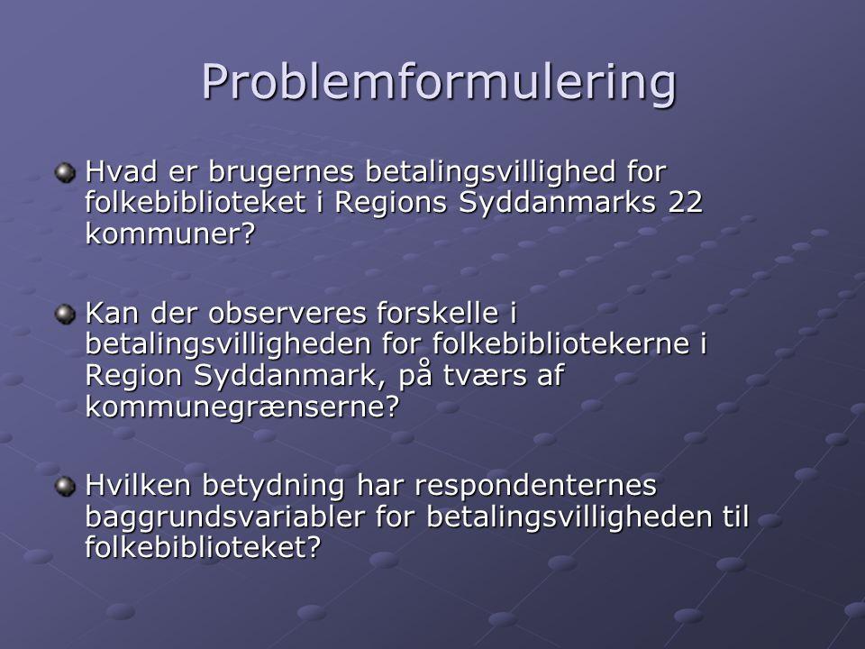 Problemformulering Problemformulering Hvad er brugernes betalingsvillighed for folkebiblioteket i Regions Syddanmarks 22 kommuner.