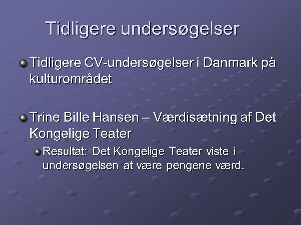 Tidligere undersøgelser Tidligere CV-undersøgelser i Danmark på kulturområdet Trine Bille Hansen – Værdisætning af Det Kongelige Teater Resultat: Det Kongelige Teater viste i undersøgelsen at være pengene værd.